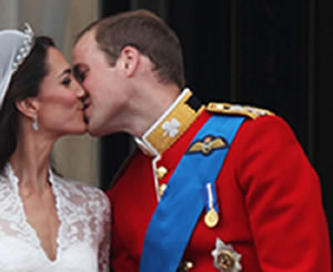 Prince William and Kate Middleton kiss at the royal wedding