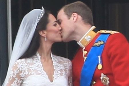 Royal wedding kiss with closeup of Kate Middleton's tiara