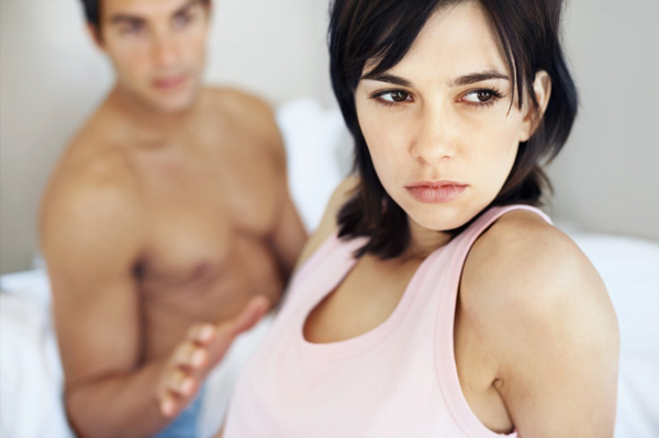 Upset woman with clingy boyfriend and bad relationship
