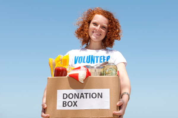 Woman donating food