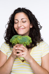 Woman loving broccoli