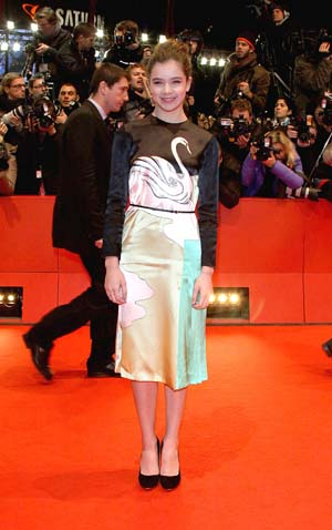 Hailee Steinfeld Prada swan dress in Berlin