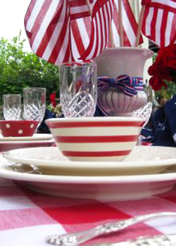 Red, white and blue table settings