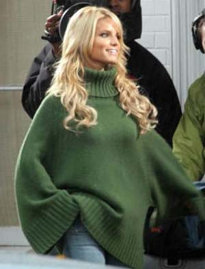Jessica Simpson green sweater with jeans