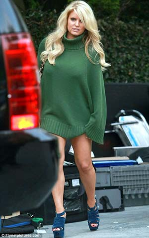 Jessica Simpson green sweater dress