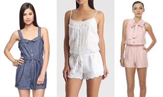 denim, white and pink summer fashion rompers
