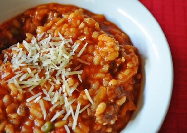 Jarred marinara sauce makes risotto easy
