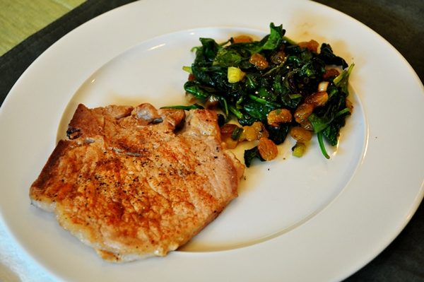 Tonight's Dinner: Paprika pork chops & wilted spinach