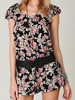 Free People summer romper in cap sleeves
