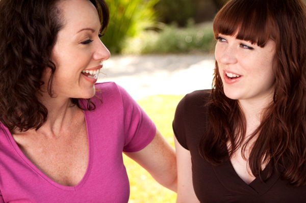 mom talking to teen girl