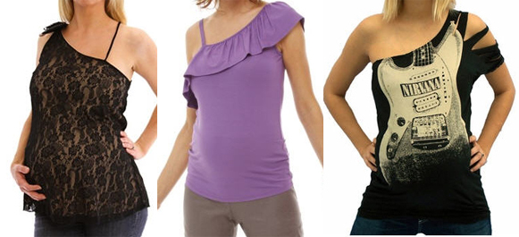 one shoulder edgy maternity fashions