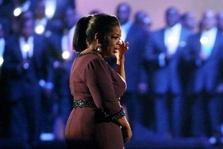 Oprah Winfrey gets emotional!