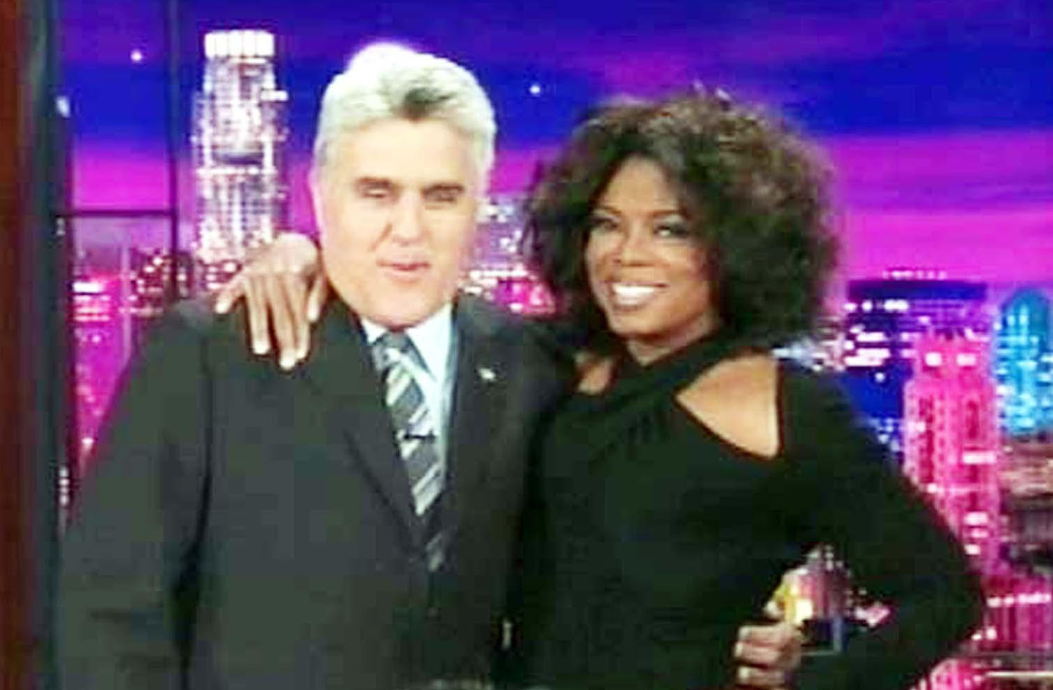 Oprah Winfrey with Jay Leno on Late Night With Jay Leno in 2004