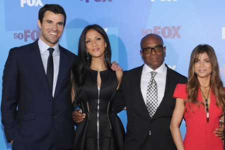 The X-Factor's new line up: Host Steve Jones with judges Nicole Scherzinger, Antonio 