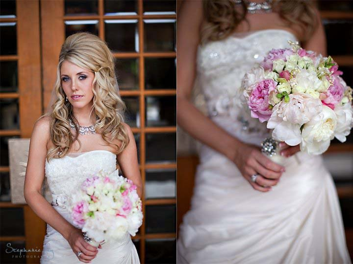 Vintage bridal style - bride wearing elaborate bib necklace