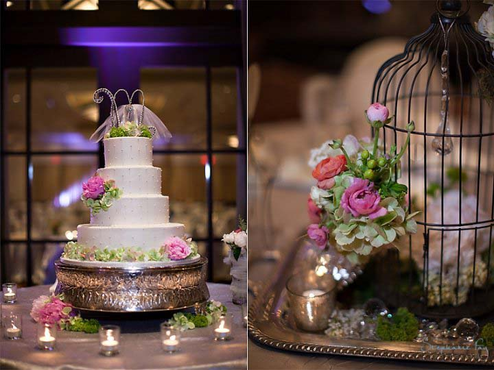 Vintage wedding cake with handmade cake topper