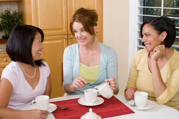 Family members talking over coffee