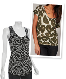 animal print tank tops and tee shirt