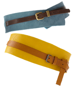 unique, fashion forward yellow and blue waist belts