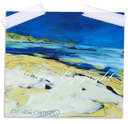 Beach oil painting print