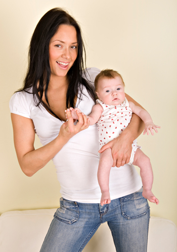 Fit mom with newborn