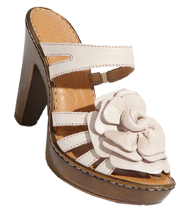 sandals with a white flower embellishment