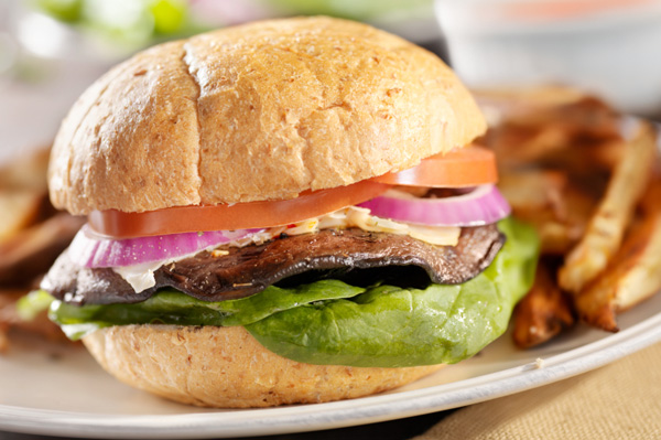 Grilled mushroom burger