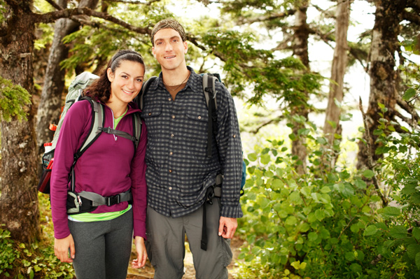 Happy couple on hike