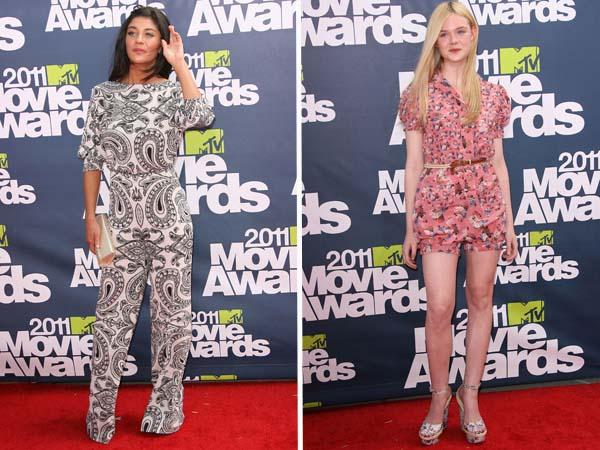 Jessica Szohr and Elle Fanning Worst Dressed 2011 MTV Movie Awards