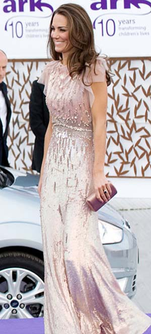 Kate Middleton in a Jenny Packham dress