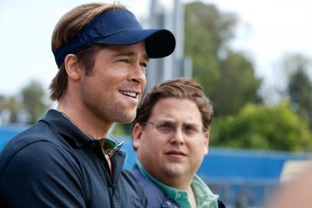 Brad Pitt and Jonah Hill in Moneyball
