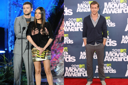 Justin Timberlake and Ryan Reynolds at MTV Movie Awards