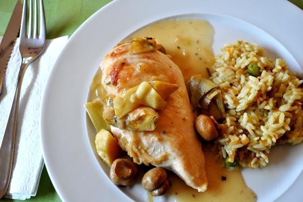 Artichoke hearts make chicken something special