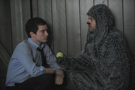 Elijah Woods befriends a dog in FX's Wilfred