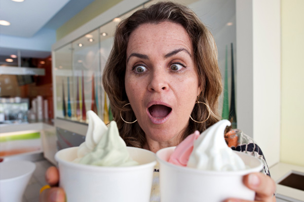 Woman craving frozen yogurt