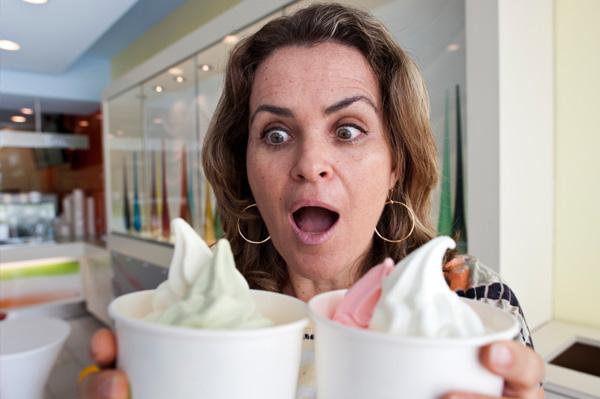 Woman craving frozen yogurt