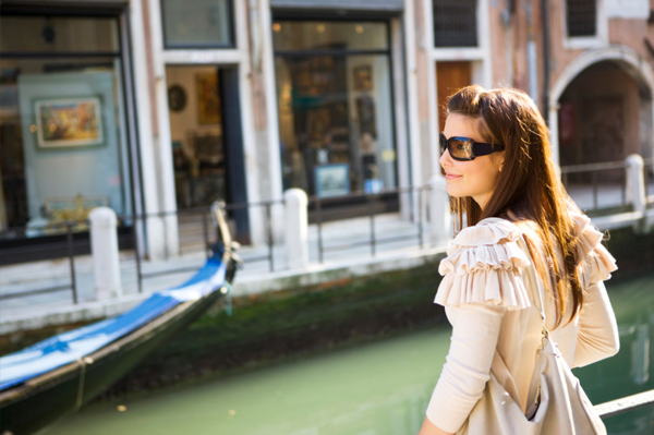 Woman on vacation in Venice