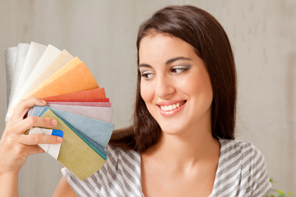 Woman with paint sample