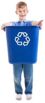 Boy with recycling bin