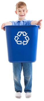 Boy with recycling bin