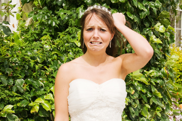 Bride pulling out hair