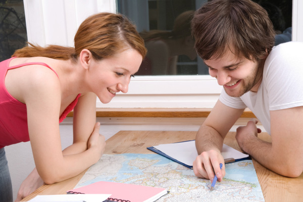 Couple planning vacation