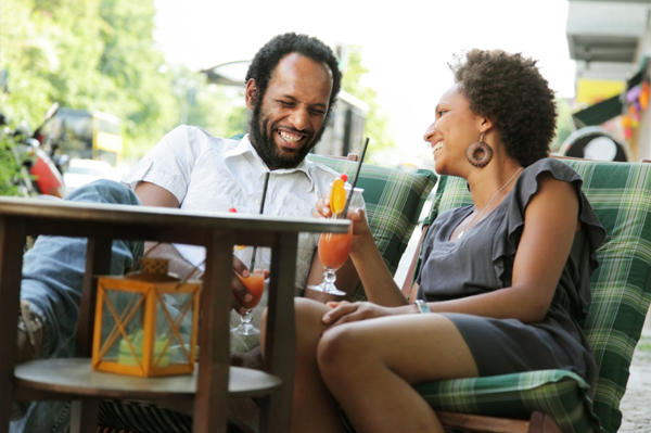 Couple relaxing on patio