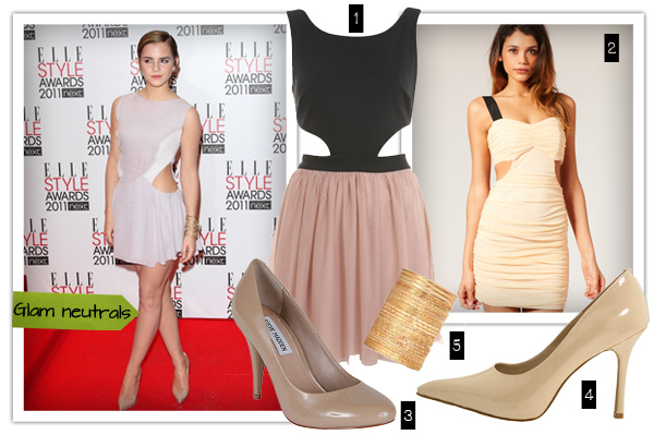 Glam neutral look on Emma Watson