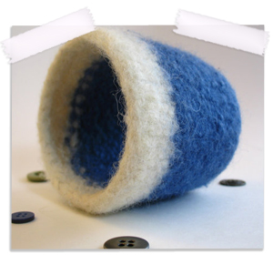 Handknit felted cup cozy