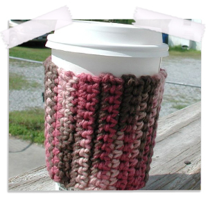 Raspberry mocha crocheted coffee cozy