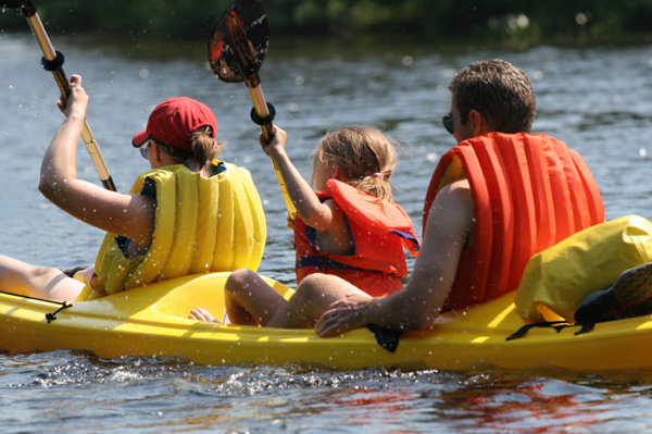Family in canoe