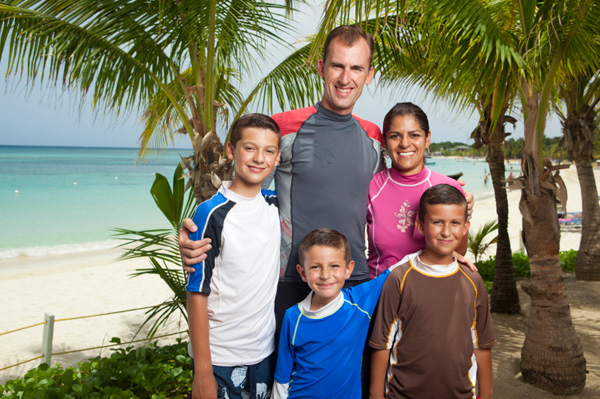 Family on Carribean vacation