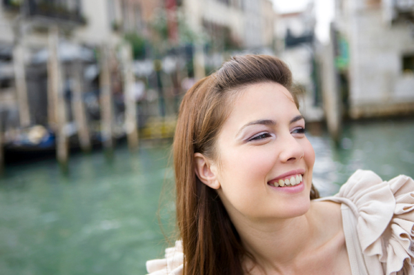 Happy tourist in Venice