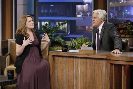 Jenna Fischer and Jay Leno